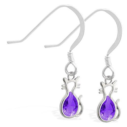 Sterling Silber Ohrringe mit kleinen Dangling Lab Erstellt Amethyst Jeweled Katze Charme (Silber-lab Charme)