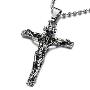 pendentif j sus christ croix crucifix pendentif collier homme en acier argent noir deux tons. Black Bedroom Furniture Sets. Home Design Ideas