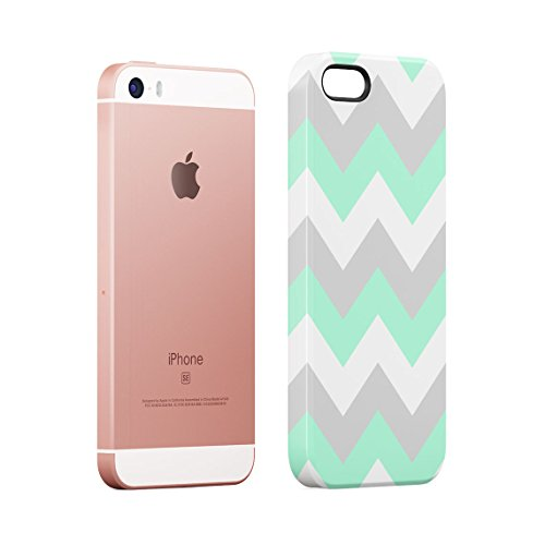 Mint And Coral Pink Chevron Blocks Dünne Rückschale aus Hartplastik für iPhone 5 & iPhone 5s & iPhone SE Handy Hülle Schutzhülle Slim Fit Case cover Light Mint Chevron