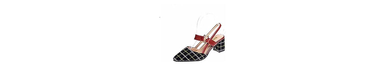 GTVERNH Zapatos de Mujer/Retro Verano Zapatos A Juego con Faldas Medio Tacones Y Sandalias.Treinta Y Ocho Black -