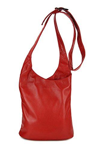BELLI® ital. Schultertasche Cross Over Bag Nappa Leder Handtasche rot - 24x28x8 cm (B x H x T)