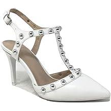 45c7060b7ee5 Angkorly - Chaussure Mode Escarpin Sandale salomés Stiletto soirée Femme  lanières clouté Perle ...
