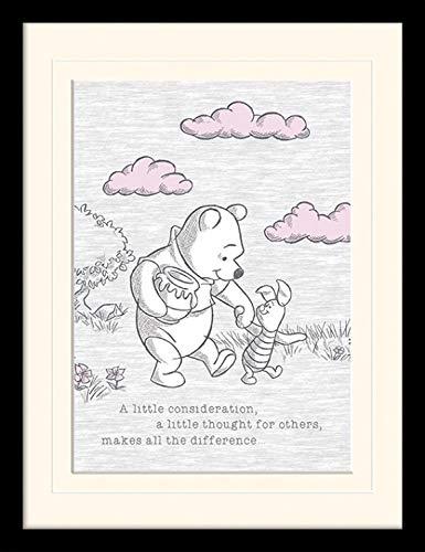 1art1 117147 Winnie Puuh Der Bär - A Little Consideration Gerahmtes Poster Für Fans Und Sammler 40 x 30 cm