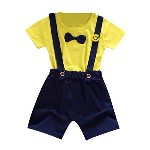 Babybody Kinderkleidung Jungs Mädchen, YanHoo Kid Baby Mädchen Jungen Spot Print Tops T Shirt gestreifte Hose Outfit Set Kinderschlaf Hosen Anzug 0-2 Jahre alt