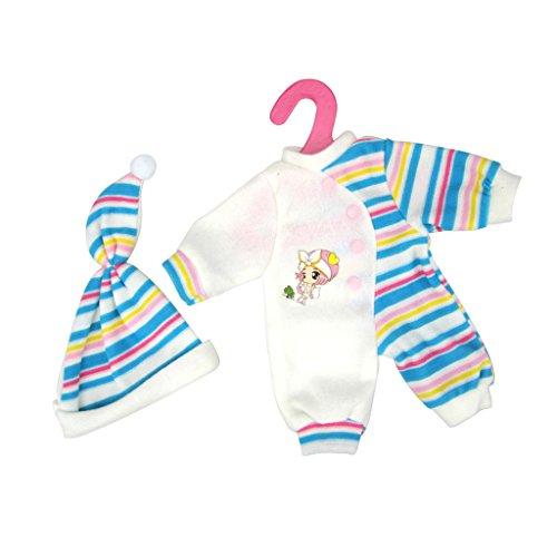 Blesiya Puppen Pyjamas Schlafanzug Overalls & Hut Bekleidung für 35-40cm Puppe Dress Up - Blau