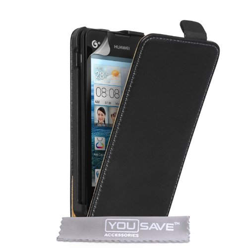 huawei-ascend-y300-case-black-genuine-leather-flip-cover