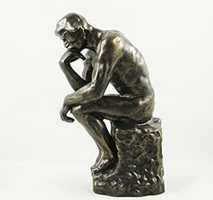 NUDE MALE STATUETTE 'The Thinker' by Auguste Rodin BRONZED FIGURINE 'Le Penseur' ORNAMENT