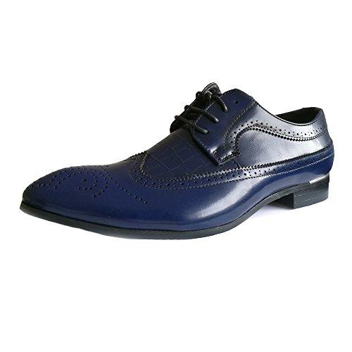 XIANGBAO-Persönlichkeitsfall Herrenmode Brogue Schuhe Klassische Hohl Carving Splice PU Leder Wingtip Lace Up Atmungsaktiv Gefütterte Oxfords (Color : Blau, Größe : 40 EU) - Klassische Carving
