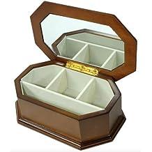 rown de madera estilo Vintage vitrina Joyero con espejo regalo