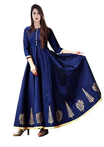 Vaankosh Fashion Women's Taffeta Silk Anarkali Embroidered Gown (Navy)