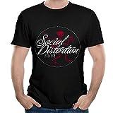 Men Social Come Distortion Fashion Running Black T-Shirt Short Sleeve