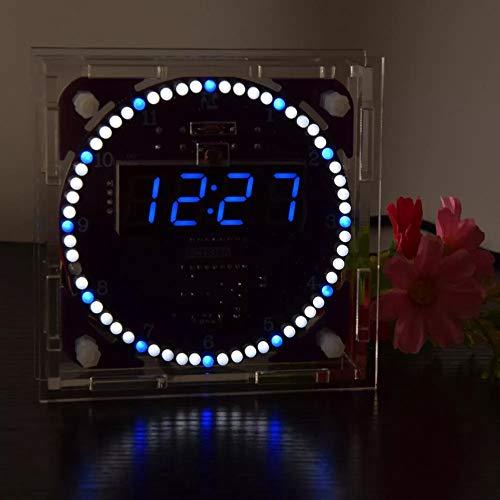 ROUHO Vierte Generation DIY Ec1838A Ds3231 Light Control Rotation Led Electronic Clock Kit-Blaue Digital Tube + Blaue Und Weiße Led Electronic Control Kit