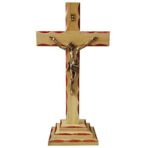 FengMicon Jesus auf Holz Kreuz Stehend Kruzifix katholischen, 34cm