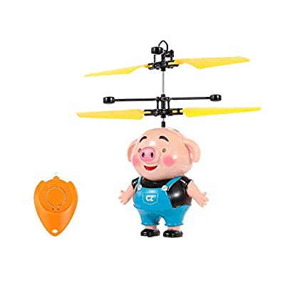 Goolsky Mini Flying Piggy Infrared Induction Drone LED Flashing Light Aircraft RC Toy with Remote Controller Great Gift for Kids Children