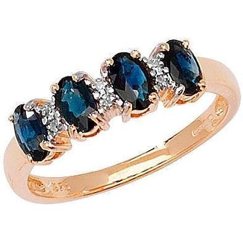 9ct Diamante e 4zaffiro ovale OV Sap/0,80D/0.01ct Anello
