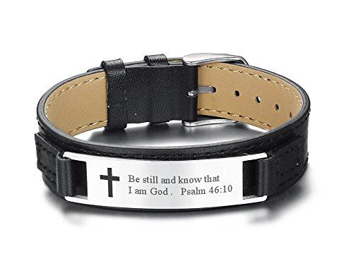 PJ JEWELRY Sei still und weiß, DASS ich Gott Bin Psalm 46:10 Bibel Vers Gravierte christliches Kreuz Armbänder für Männer