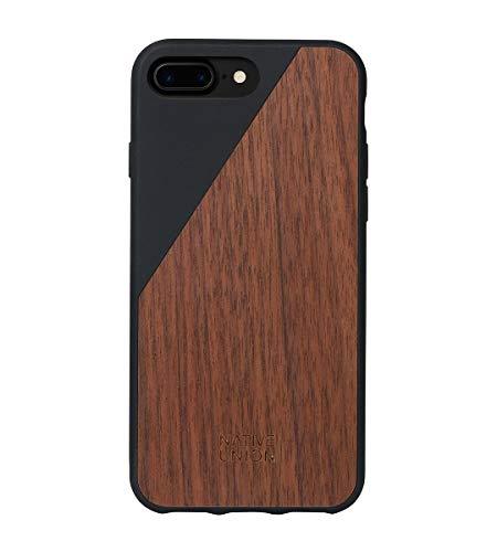 Native Union CLIC Wooden Custodia - Cover Protettiva Vero Legno Artigianale - Compatibile con iPhone 7 Plus, iPhone 8 Plus (Nero)