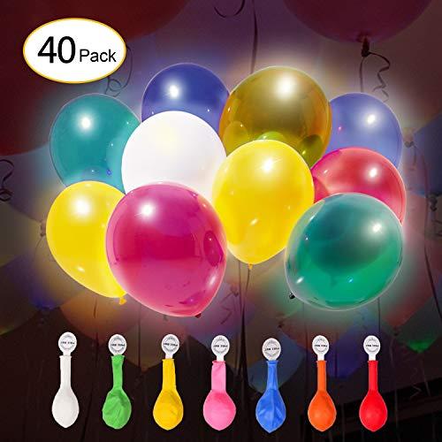 IDESION [40 Piezas Globos LED Bola de Luz Colores Decoración Luminosa Multicolor para la Fiesta de Aniversario,Cumpleaños, Boda, Navidad