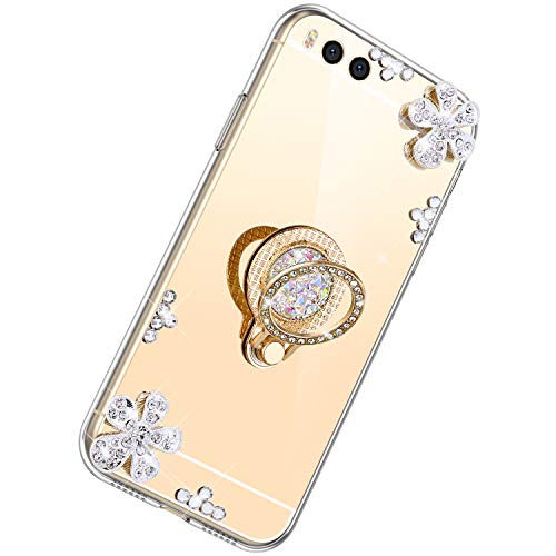 Herbests Kompatibel mit Xiaomi Mi Note 3 Glänzend Diamant Kristall Strass Glitzer Spiegel TPU Handyhülle Handytasche Silikon Schutzhülle TPU Bumper Case mit Handy Fingerhalterung,Gold