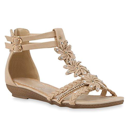 Bequeme Keilsandaletten Strass Glitzer Sandaletten WedgesSommer LackBlumen Keilabsatz Sandalen Schuhe 114321 Nude Schnallen 38 Flandell (Ein Kleid Für Schuhe)