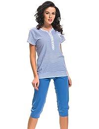 dn nightwear Damen Schlafanzug / Pyjama für Schwangerschaft und Stillzeit PM.9201
