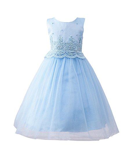BabyPreg kleine Mädchen Tüll bestickte Spitze Kleid Hochzeit Blumenkleid (Blau, 3) (Illusion-mieder-kleid)