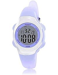 Reloj electrónico digital de múltiples funciones de los ni?os,Jalea led 100 m resina resistente al agua correa calendario alarma cronómetro chicas o chicos moda reloj de pulsera-B