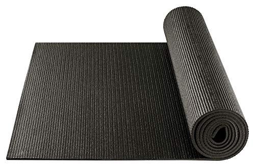 BODYMATE Yogamatte Universal Schwarz - Größe 183x61cm - Dicke 5mm - Schadstoffgeprüft durch SGS frei von Phthalaten, BPA, Schwermetallen - Trainings-Matte für Fitness, Yoga, Pilates, Functional