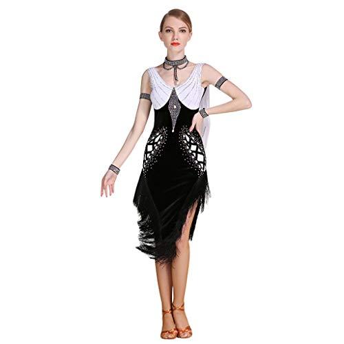 Professionelles Tassel-Latin-Tanzkleid Mit Exquisiten Kragen-Rückenausschnitt Room Ballsaal - Performance Dance Rumba - Samba - Unregelmäßiger Rock (Farbe : Schwarz, größe : ()
