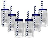 6 x Absolut Glas Gläser Jar Strohhalm Acryl mit Deckel Gastro Bar Deko + Flaschenausgiesser