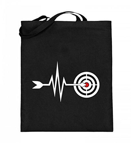 Hochwertiger Jutebeutel (mit langen Henkeln) - Mein Herz schlägt für Bogensport Schwarz
