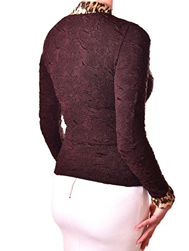 PoshTops Tierdruck Damen Zip Up Edle Blazer Dehnbares Strukturiertem Material Damenshirt Bluse Lang Ärmel Größen S �?XXXL Abendkleidung Freizeitkleidung Plus Size Kleidung Braun