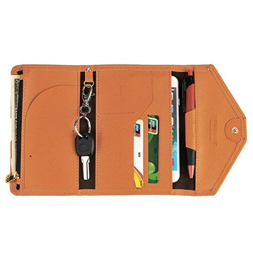 Ducomi® Crown Smart Pouch - Portafoglio Multifunzionale in Ecopelle - Ideale per Organizzare tutti i Documenti da Viaggio come Passaporto, Biglietti, Contanti e Carte di Credito (Orange) Orange