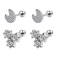 JFORYOU 16G Trauge Earrings CZ Helix Cartilage Ear Studs Piercing Sweet Style for Girls and Women Moon Stars Bee Butterfly Snowflake Tree and Dream Catcher