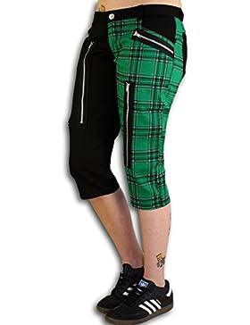 Nix Gut - Tartan, Pantalones Cortos para Mujer en Estilo Slim-fit, Color: Negro/Verde