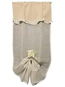 Coppia tendine Tende Romantic Cuoricini - Country Shabby chic Provenzale - tessuto in Lino e cotone - Cm 60x240