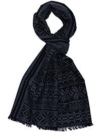 LORENZO cANA tissage jacquard foulard doux comme écharpe en cachemire gris anthracite 9320211 noir 32 x 180 cm