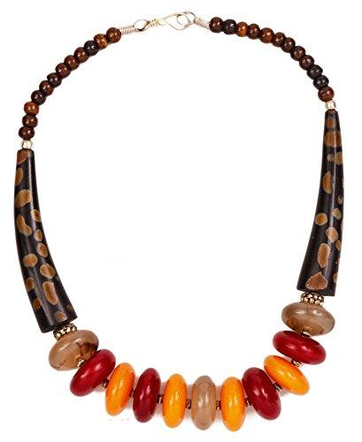 Budista cadena rojo, grises, amberfarbene piedras y de arce (más étnico joyas