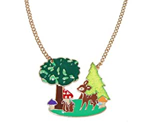 Cute Deer in Forest Vibrant Enamel Necklace with a Gold Tone Chain (Supplied in a Gift Pouch) Unique Jewellery