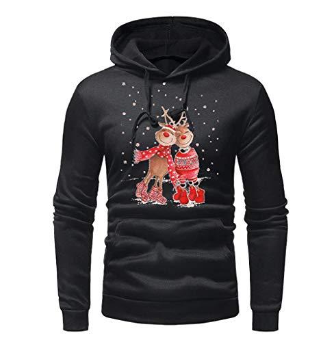 Tomatoa-Herren Weihnachten Pullover Jacke Kapuze Hoodie Sweatshirt Kapuzenpullover Winter Kapuzenpullis Winter Warm Weihnachten Tops