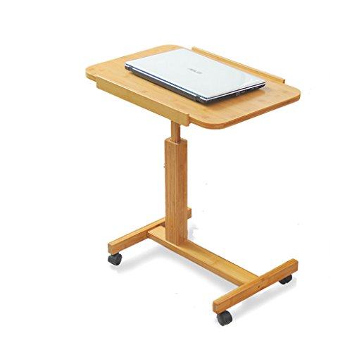Bureau d'ordinateur mobile, table d'appoint de sofa de chevet, table en bambou, taille ajustable 62~94cm (taille : 60 * 40cm)