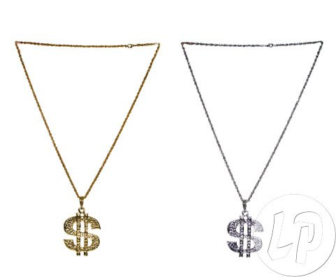 Silber Kostüm Dollar - Dollar Glitzer Kette Silber