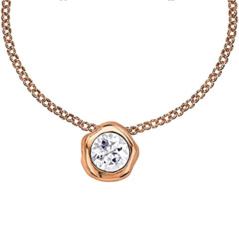 Dower & Hall Dewdrop Rose Gold Plated on Silver White Topaz Beaten Nugget Pendant on 46cm Chain