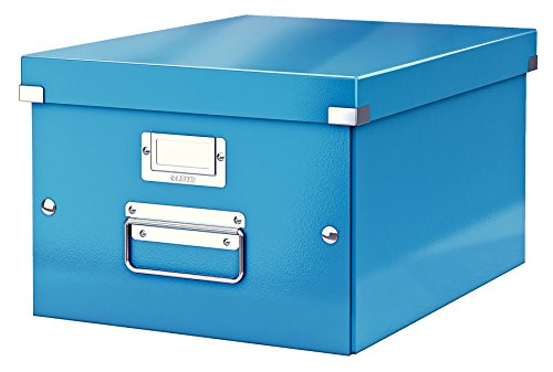 Leitz, Mittelgroße Aufbewahrungs- und Transportbox, Blau, Mit Deckel, Für A4, Click & Store, 60440036 (Serie Storage Box)