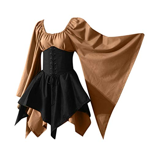Mittelalter Kleid Damen Langarm mit Trompetenärmel Cosplay Dress Mittelalterliche Kleidung Renaissance Halloween Weihnachten Karneval Unregelmäßiger Saum Slash-Neck Maxikleid Party Kostüm S-5XL Piebo