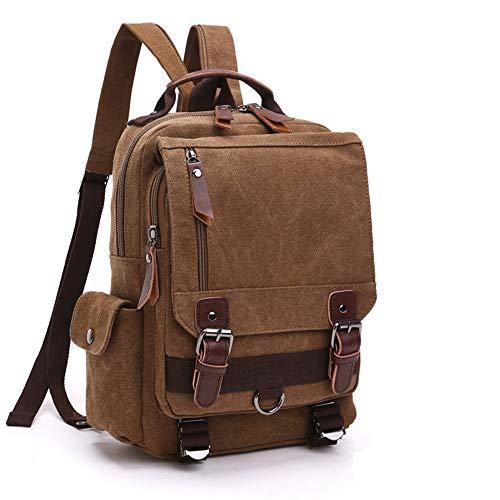 Zaino vintage in tela, zaino in pelle casual Zaino da viaggio Yovanpur Zaino da escursionismo Borsa a tracolla per laptop da 12 pollici unisex (caffè)