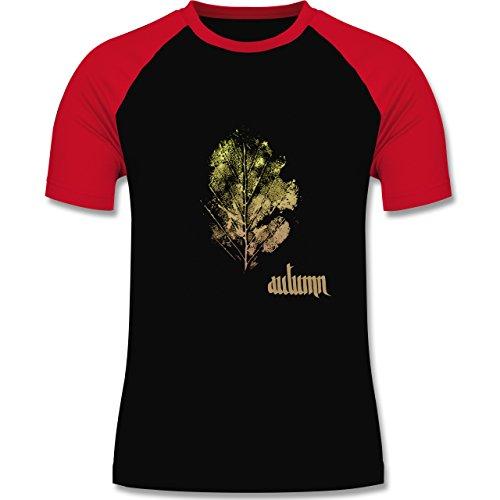 Blumen & Pflanzen - Herbstblatt - autumn leaf - zweifarbiges Baseballshirt  für Männer Schwarz/Rot