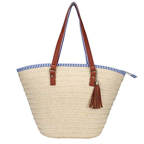 Sornean Strandtasche, Handtasche, Schultertasche, Baumwollfutter, PU-Leder-Griff, umweltfreundlich gebrochenes weiß