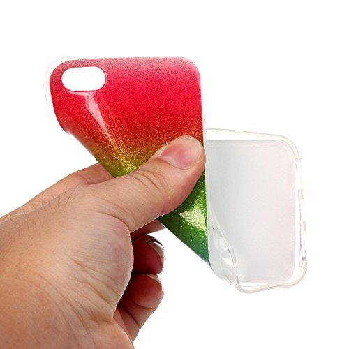 TPU Luxus Glitzer Case Cover iPhone 5 5S SE Hülle mit Kratzfeste Stoßdämpfende Strass Shining Sparkle Schutzhülle Ultra Thin Light Kristall Schutz Matt Schale Bumper für Apple iPhone 5 5S SE +Staubste 4