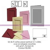 Confezione da 5 carte passepartout rettangolare a 3 ante, con buste, formato A6 bianco - 1099 Busta